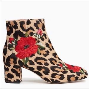 NWOT Kate Spade Animal Print Embroidered Booties